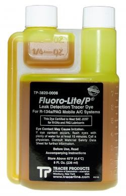 Tracer Products TP38200008 Fluoro-Lite® R-134a / PAG Bottled Dye (8 oz Twin Neck)