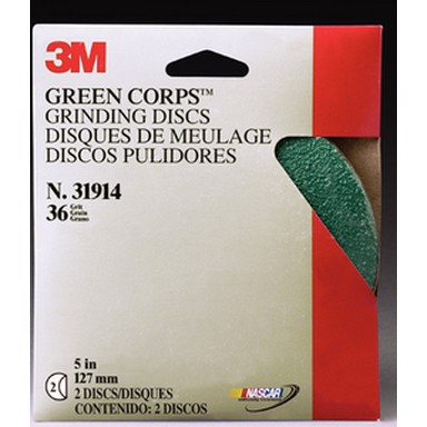 3M 31915 Green Corps Grinding Disc, 5 in x 7/8 inch