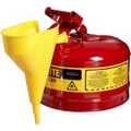 Justrite 7125110 pe I Red Steel Safety Cans with Funnels Value Packages - 2.5 Gallon Capacity(9.5L)