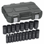 KD Tools 84934 19-Piece 1/2in. Drive 6-Point SAE Deep Impact Socket Set