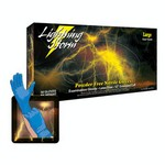 Atlantic Safety Products Lightning Storm 12 Inch Powder Free Blue Nitrile Gloves 9 mil Medium
