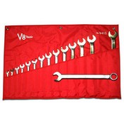 V8 Tools 9415 Long Pattern Combination Wrench Set SAE 15-Pc
