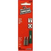 Vermont American 15402 Type Torx Size TX9 with 1-Inch Length Extra Hard Screwdriver Bit, 2 Pieces Per Card
