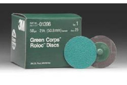 3M 1396 Green Corps Roloc Disc, 50 Grade, 2 inch