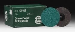 3M 1408 Green Corps Roloc Disc, 24 Grade, 3 inch