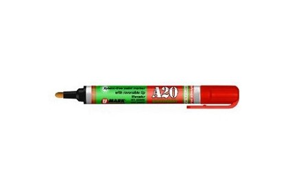 "U Mark 10704 A20 Xylene-Free Paint Marker With Reversible Tip, 0.625"" Diameter, 5.3"" Length, Red (Pack of 12)"